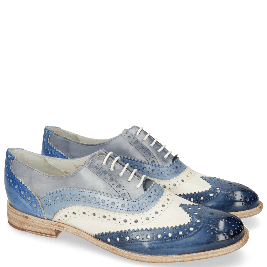 Oxford shoes Amelie 10 Vegas Marine White Sky Blue Avio Electric Blue
