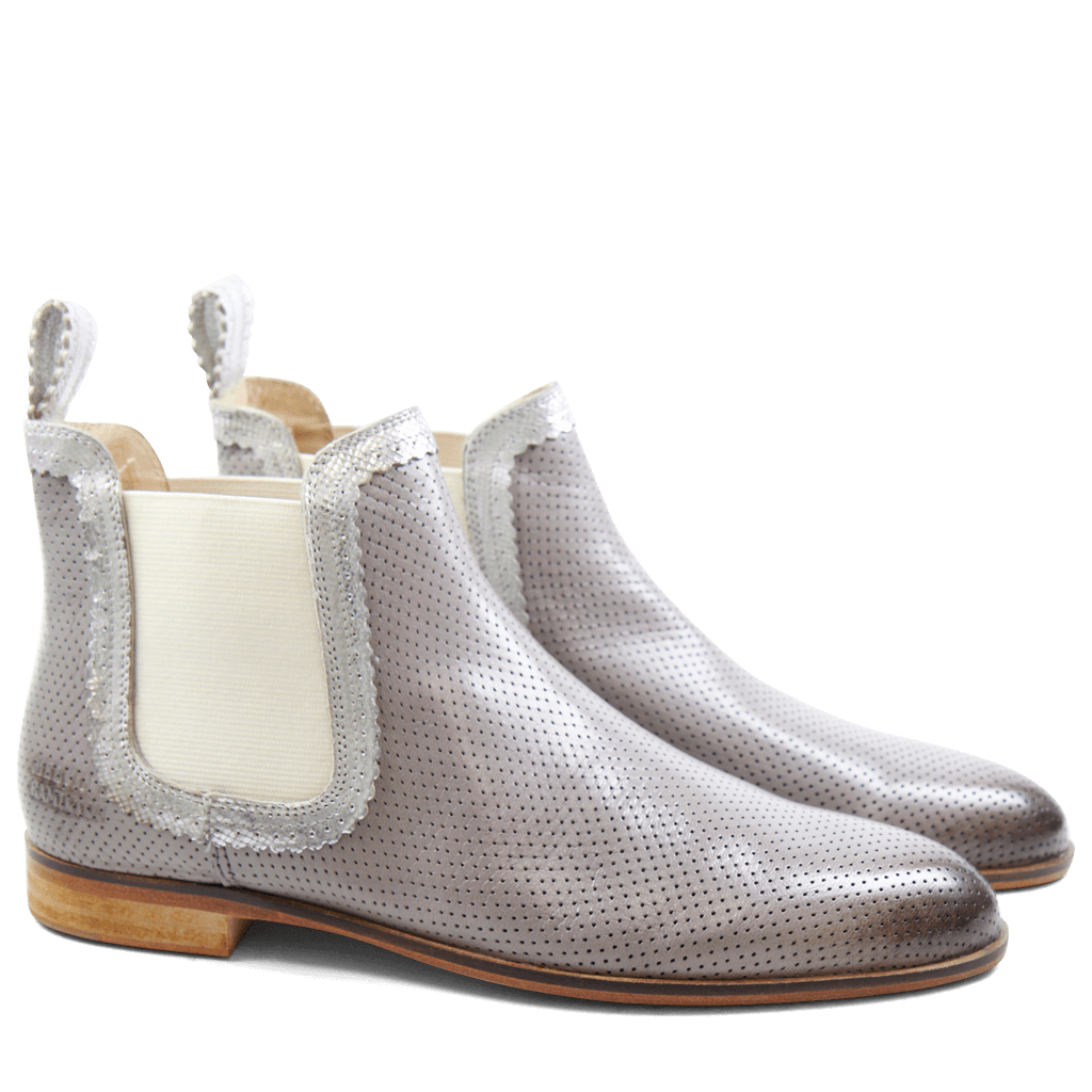 Ankle boots Susan 30  Salerno Perfo Ash Java Metalic Silver Elastic Off White LS