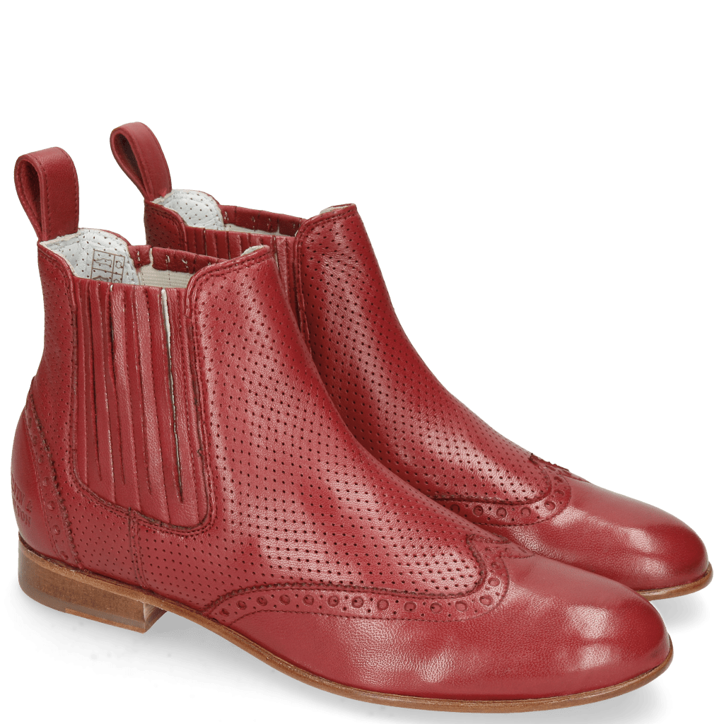 Ankle boots Sally 129 Nappa Glove Perfo Rich Red
