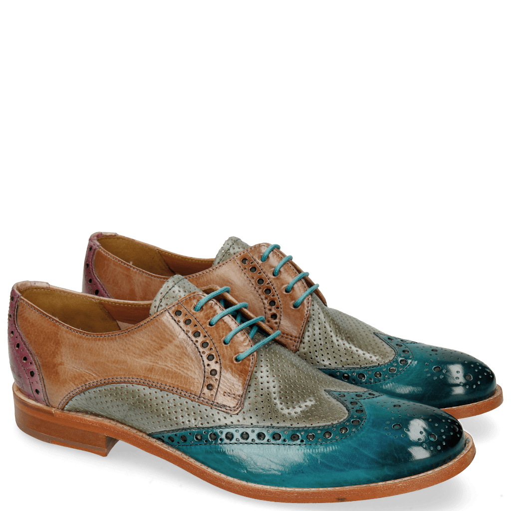 Derby shoes Amelie 3 Turquoise Perfo Clear Water Light Rose