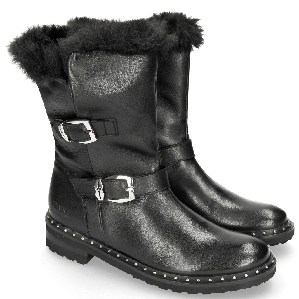 Ankle boots Bonnie 21 Nappa Black Sword Buckle Collar Fur