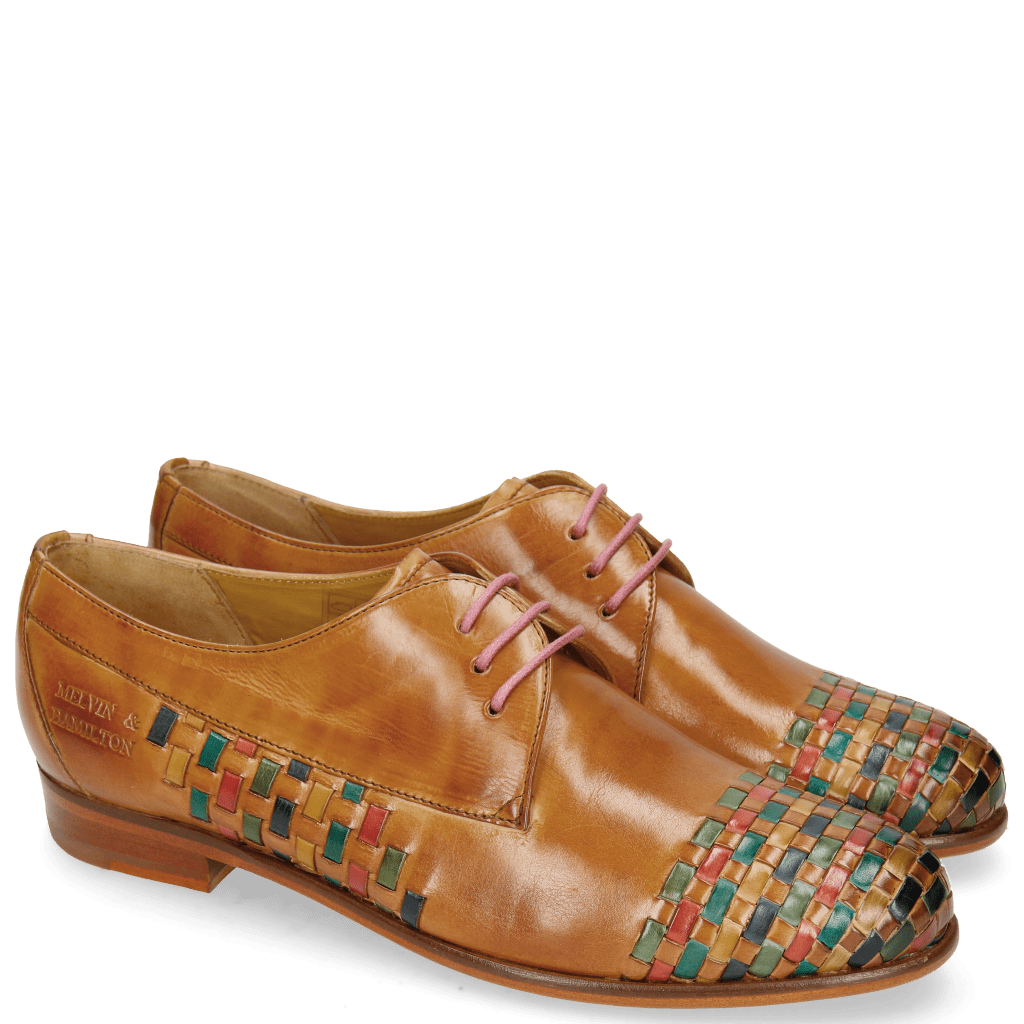 Derby shoes Selina 14 Tan Interlaced Multi