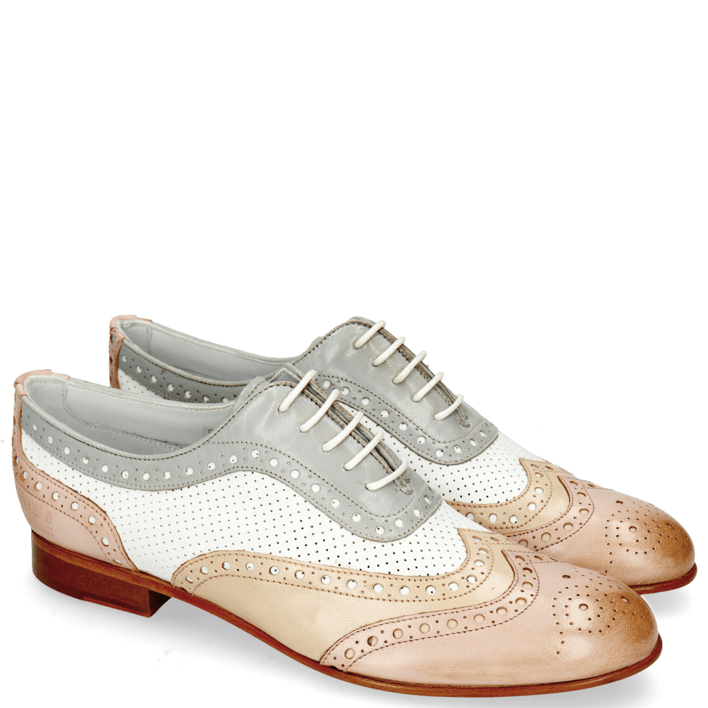 Oxford shoes Sally 97 Salerno Pale Rose Nude Nappa Perfo White French Grey