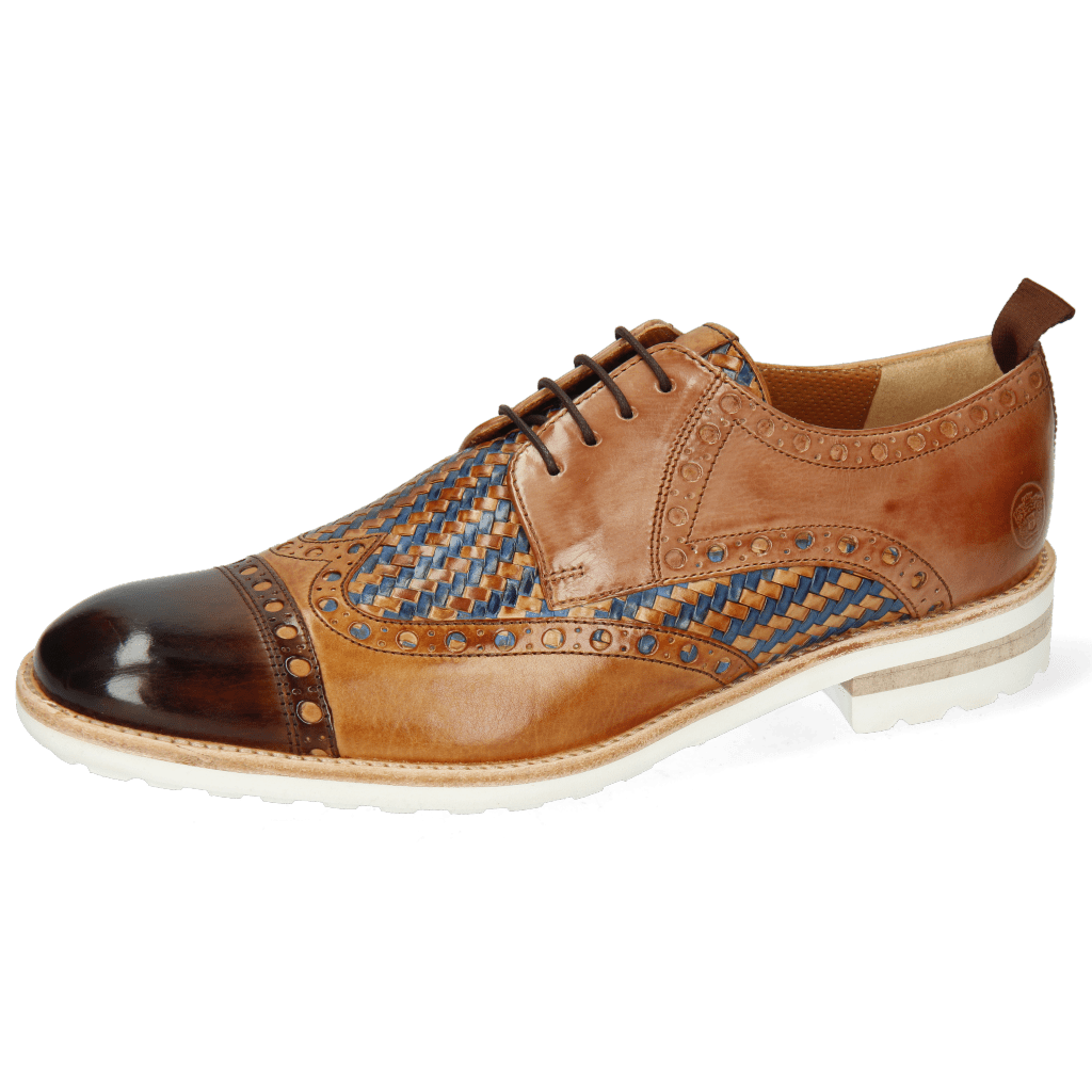 Derby shoes Eddy 48 Mid Brown Tan Haring Bone Weave