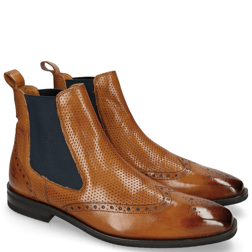 Ankle boots Alex 9 Berlin Perfo Tan Elastic Navy