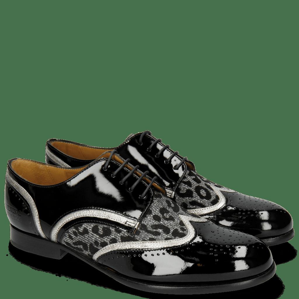 Derby shoes Sally 15 Patent Black Nappa Aztek Silver Leo