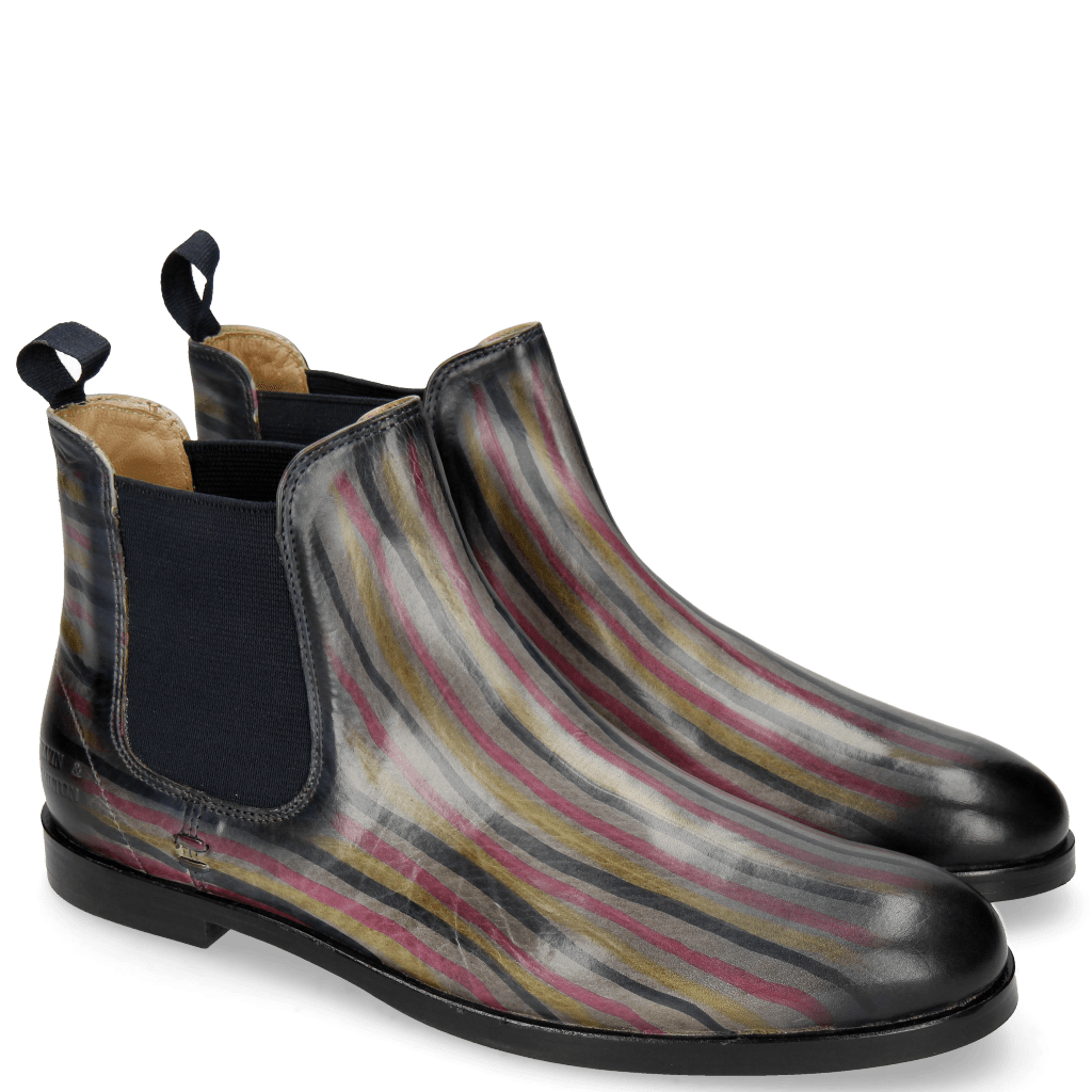 Ankle boots Susan 10 Morning Grey Dark Pink Navy Lines Cedro
