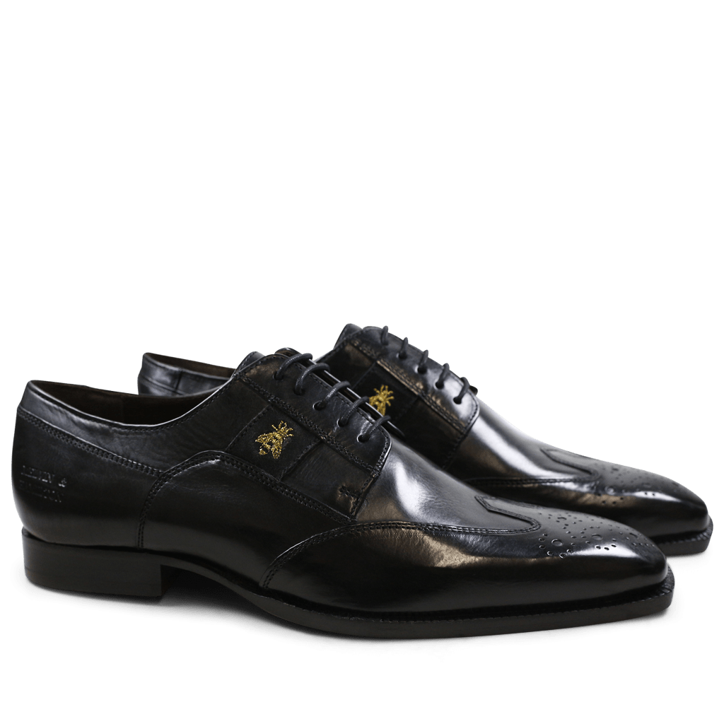 Derby shoes Woody 6 Black Embrodery Bee Strap Suede Black
