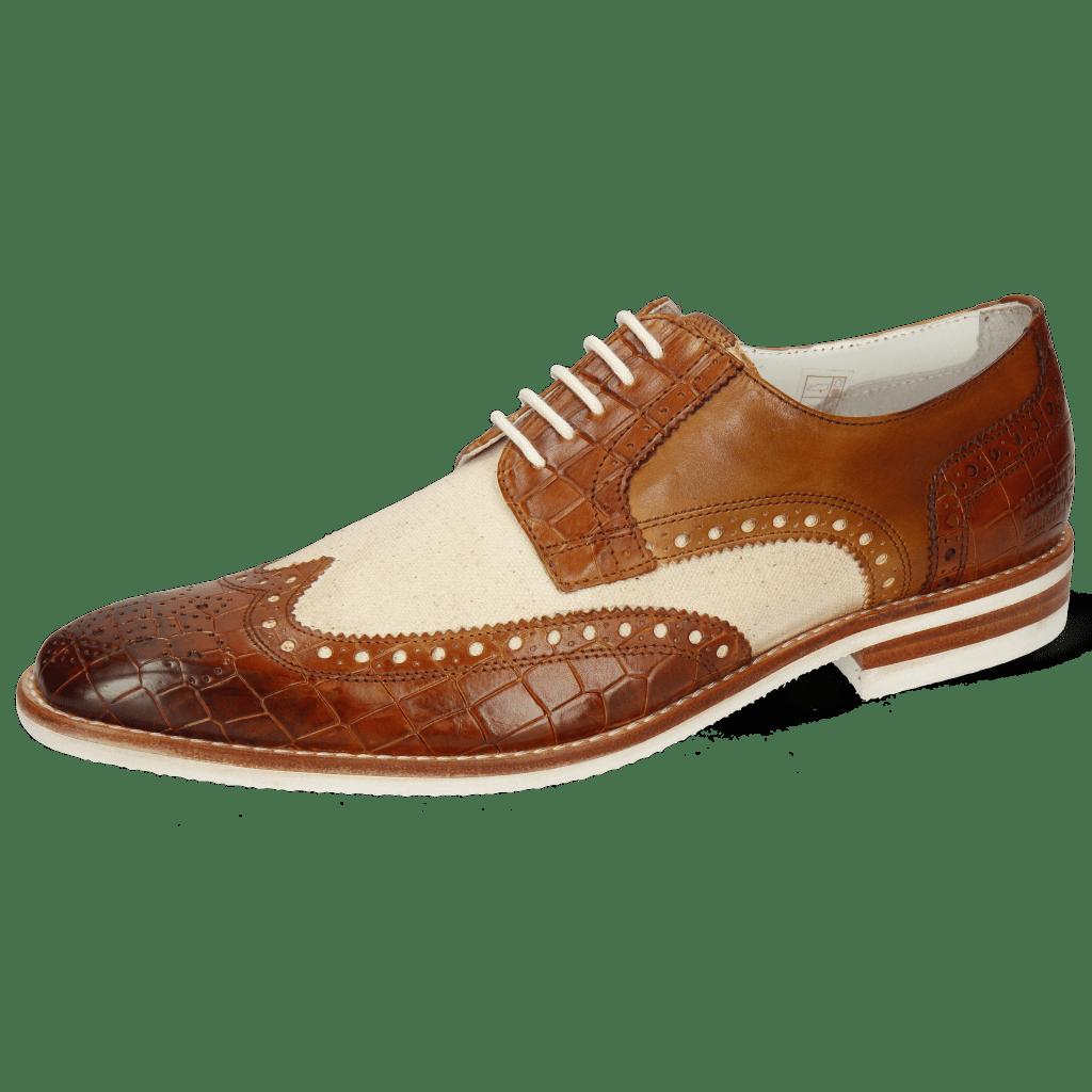 Derby shoes Barry 1 Vegas Crock Tan Canvas Off White