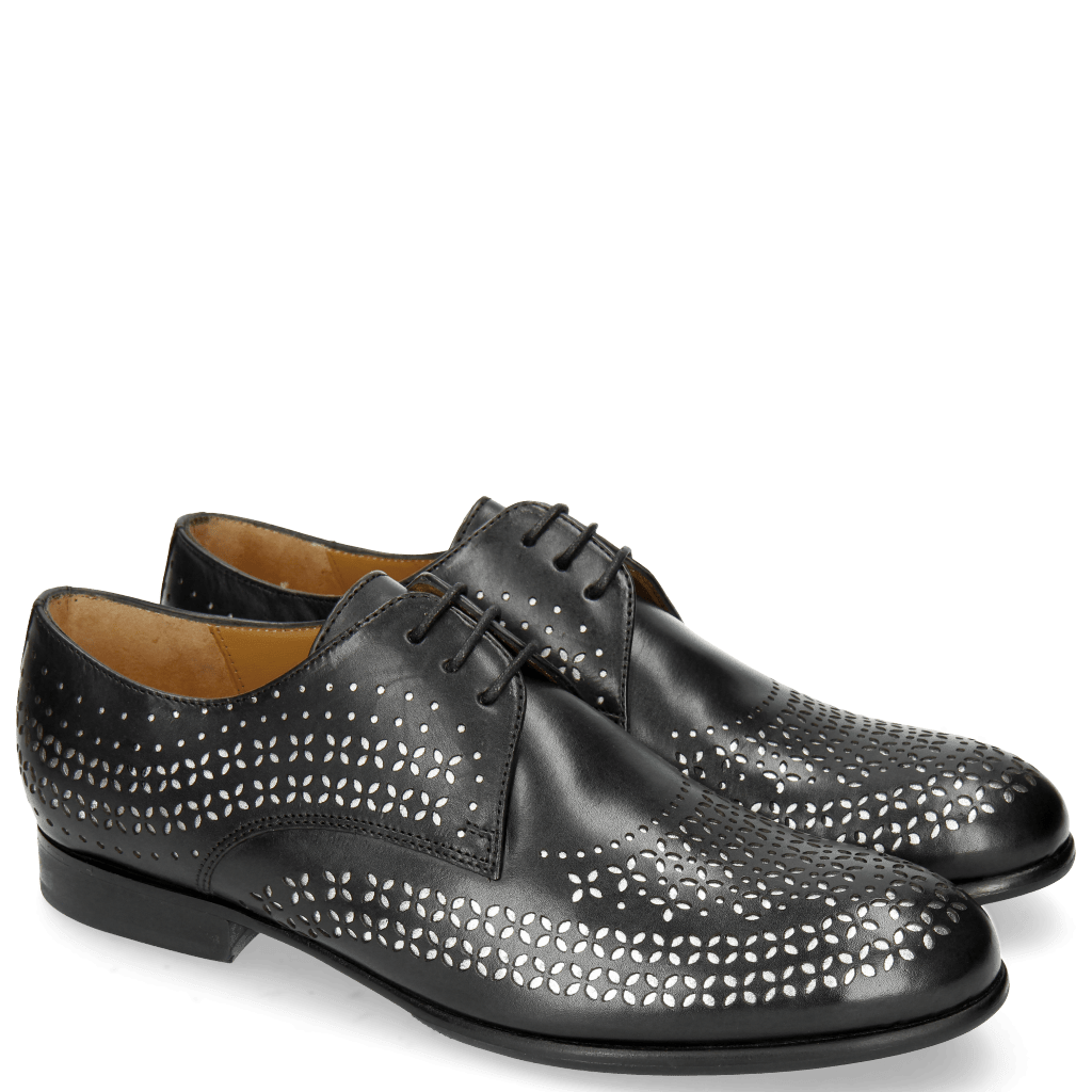 Derby shoes Sally 82 Black Lasercut Feather