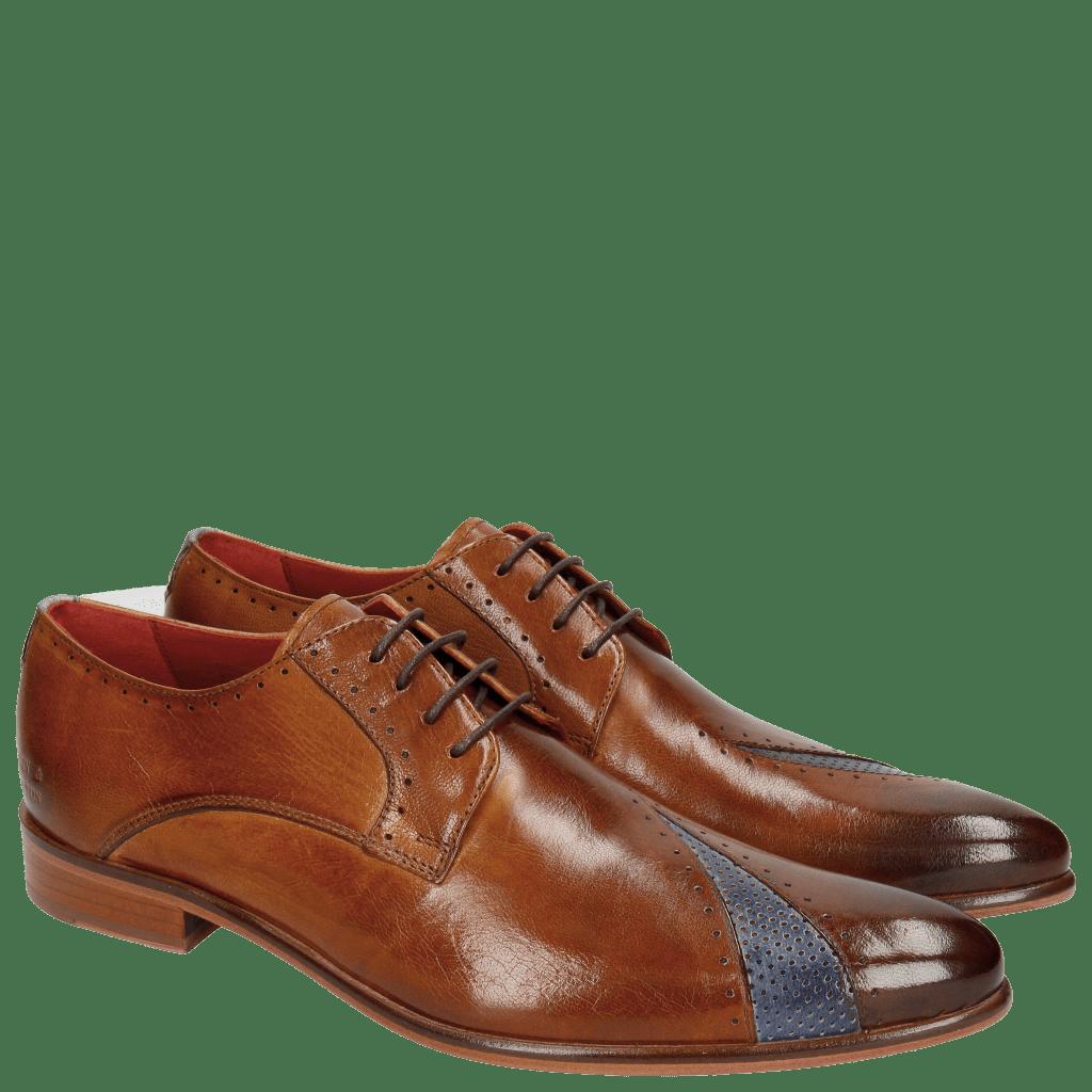 Derby shoes Toni 8 Venice Perfo Cognac Moroccan Blue