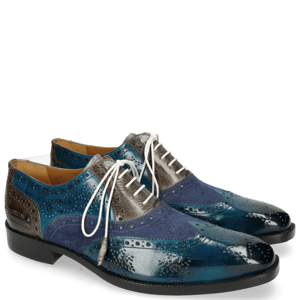 Oxford shoes Jeff 28 Suede Pattini Mid Blue Grigio