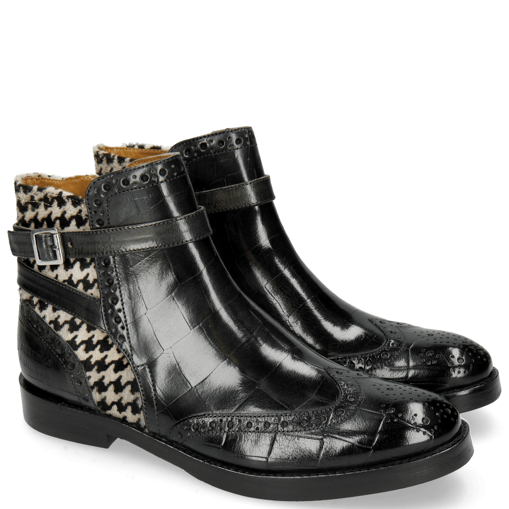 Ankle boots Amelie 11 Turtle Petrol Hairon Tweed Black White