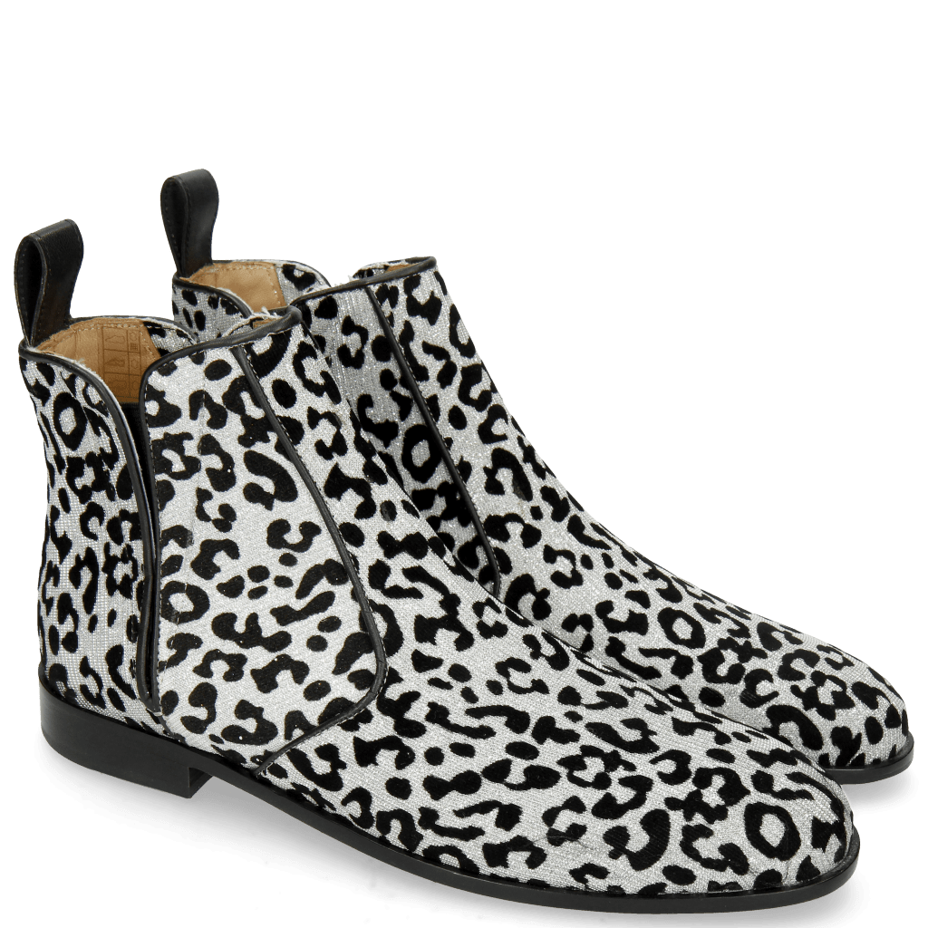 Ankle boots Susan 34 Leo Glitter Silver Elastic Black