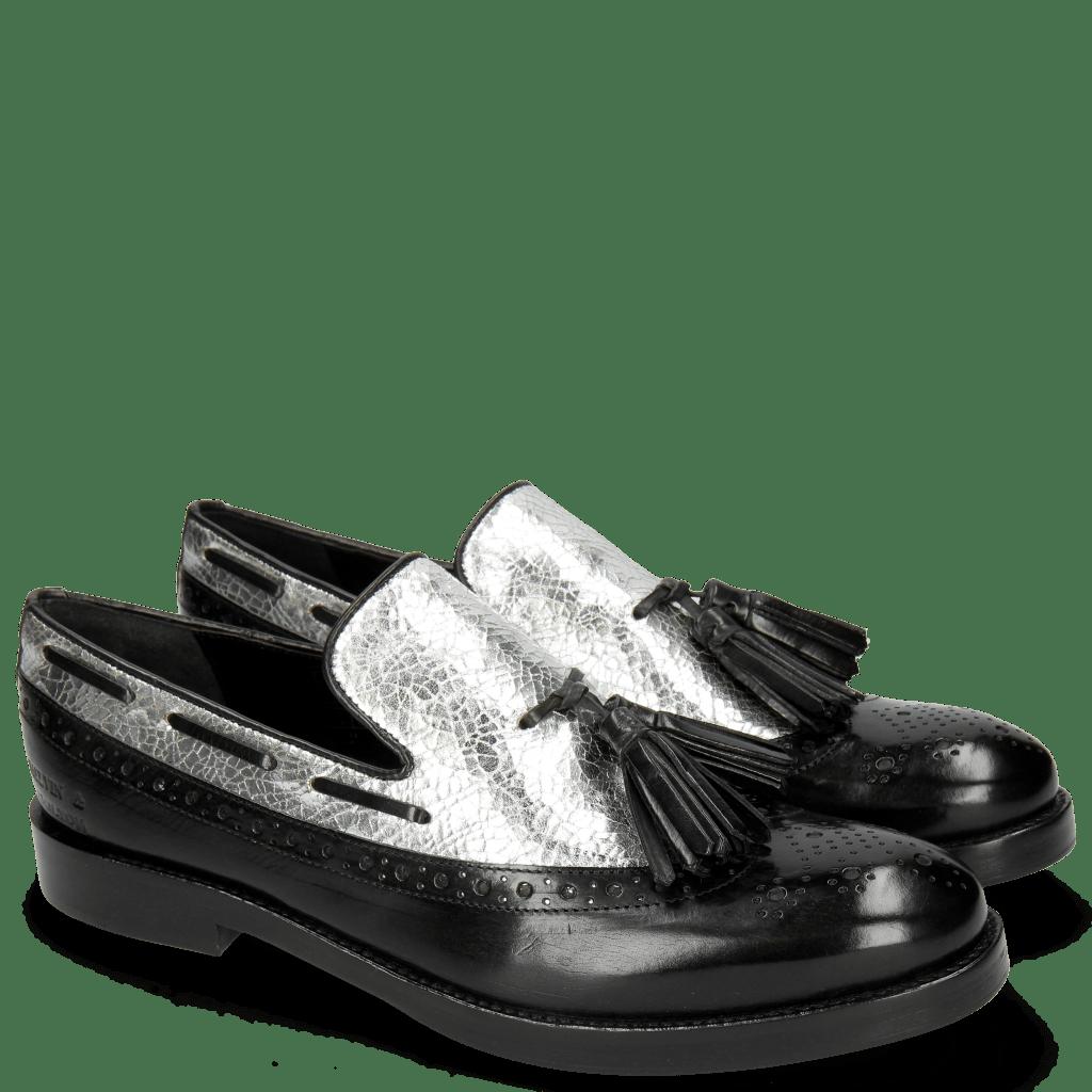 Loafers Amelie 60 Black Cromia Silver Tassel