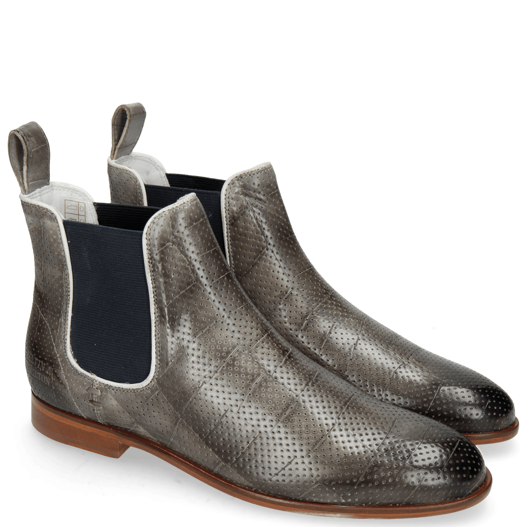 Ankle boots Susan 10 Vegas Turtle Perfo Grigio Elastic Navy