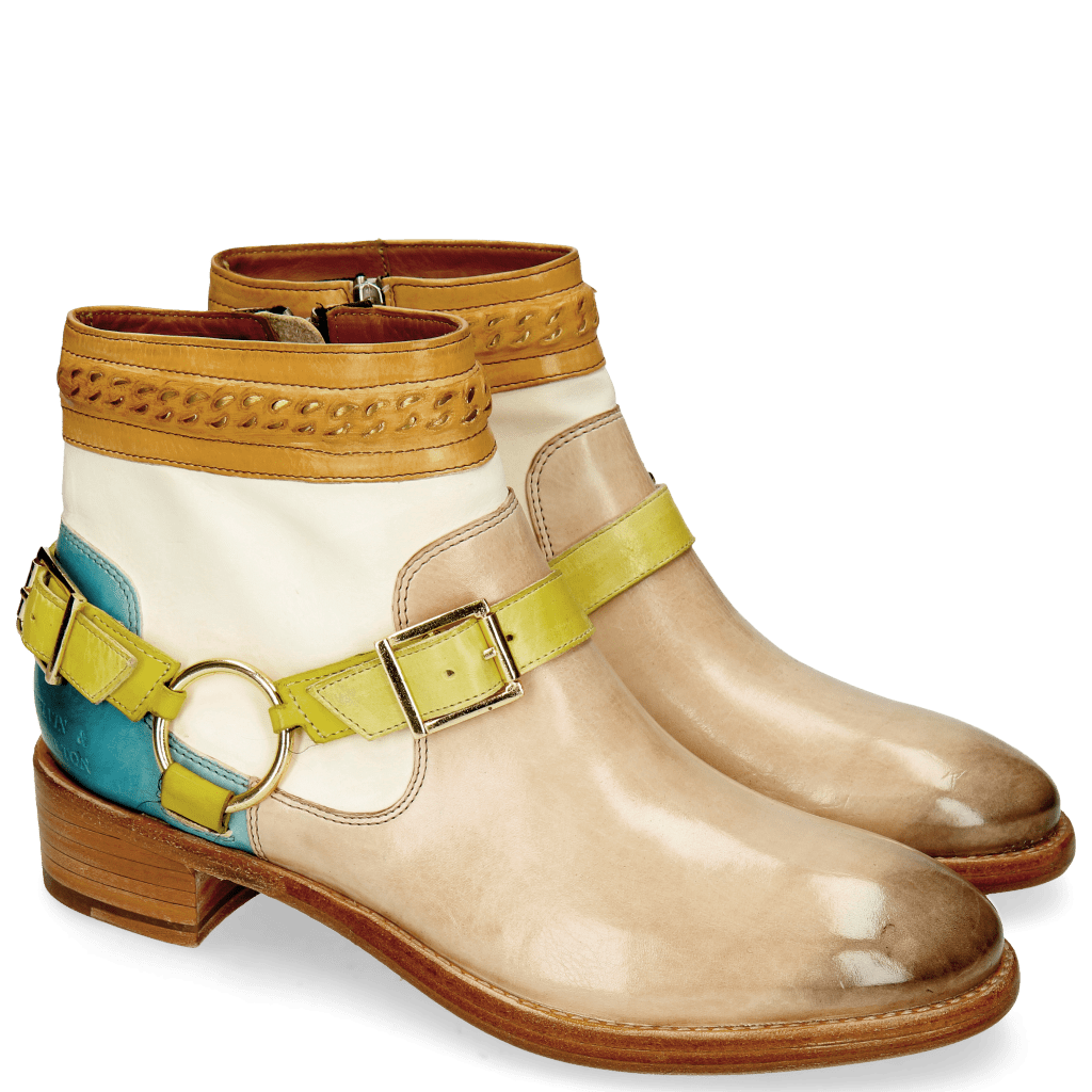 Ankle boots Lizzy 4 Corda White Turquoise Washed Straps Sol