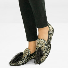 Loafers Scarlett 3 Zardosi Black Tassel Feather Black