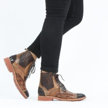 Ankle boots Amelie 17 Crock Mid Brown Lizzard Sand Turtle Wood