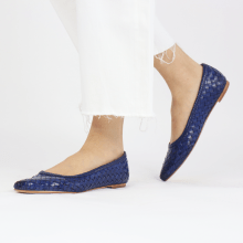 Ballet Pumps Lydia 3 Woven Scale Midnight Blue Lining
