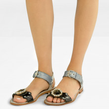 Sandals Sandra 36 Patent Oriental Grafi Silver