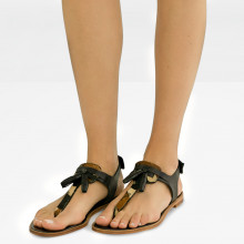 Sandals Sandra 34 Salerno Black Hairon Beige
