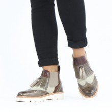 Ankle boots Selina 5 Imola Chestnut Oily Suede Ivory Mid Brown