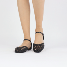 Sandals Melly 9 Open Woven Sheep Black