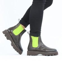 Ankle boots Megan 3R Espresso Elastic Ribbed Light Green