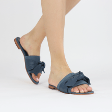 Mules Hanna 65 Nappa Navy Beige Footbed