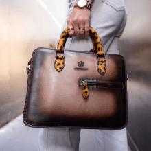 Handbags Vancouver Taupe Shade Dark Brown Hairon Jaguar