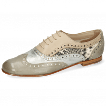 Oxford shoes Sonia 1 Vegas Light Grey Talca Steel Glove Nappa Ivory Snake