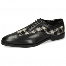 Oxford shoes Sara 1 Soft Patent Black Textile Square Black White