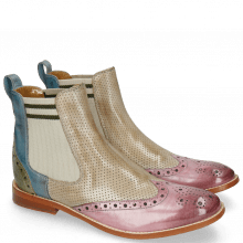 Ankle boots Amelie 5 Lilac Perfo Digital Moroccan Blue Algae Elastic Cristallo Verde