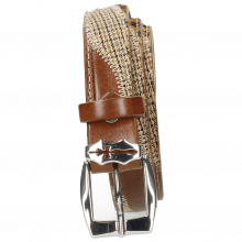 Belts Linda 2 Mid Brown Hairon Leo Cappu Wood Textile English Sword Buckle