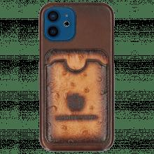 iPhone case Twelve Vegas Dark Brown Wallet Ostrich Tan