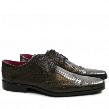 Derby shoes Mark 3 Big Croco Guana Light Crock Lizzard Light Crock Black Gold Finish New HRS