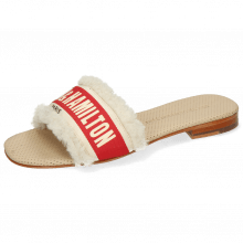 Mules Nikita 4 Sherling Beige Strap Red Off White