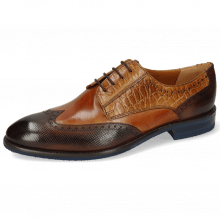 Derby shoes Bobby 1 Dice Mid Brown Alcohol Finish Tan Croco Sand