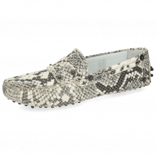 Loafers Caroline 1  Snake Scale Black Off White Dots