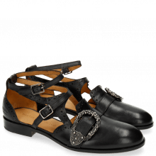 Sandals Sally 69 Black Buckle Phyton