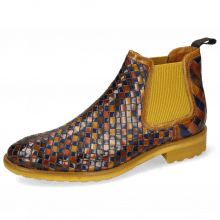 Ankle boots Brad 6 Woven Multi Binding Yellow Elastic Ribbed Mustard