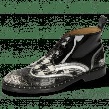 Ankle boots Sally 30 Brush Floral Black White Nappa Aztek Smoke Textile Tweed