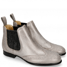 Ankle boots Sally 45 Grafi Gunmetal Elastic Glitter Black