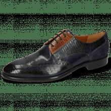 Derby shoes Bobby 1 Guana Navy Cognac Night Blue