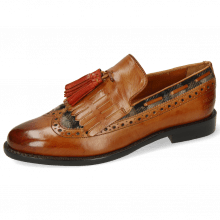 Loafers Selina 3 Cognac Textile Crayon Tassel