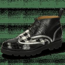 Ankle boots Sally 30 Crock Black Nappa Aztek Silver Textile Tweed Black White