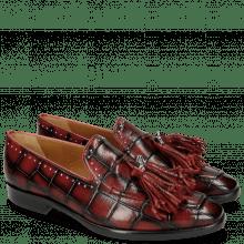 Loafers Emma 11TM Turtle Black Red Tassel Skull