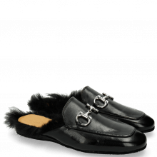 Mules Clive 2 Black Trim Nickel Fur Lining Black