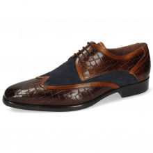Derby shoes Lance 11 Crock Mid Brown Wood Suede Pattini Navy